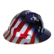 MSA V-Gard Full Brim Hard Hat - American Stars and Stripes