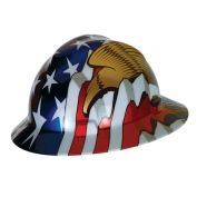 MSA V-Gard Full Brim Hard Hat - American Flag with 2 Eagles