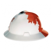 MSA V-Gard Full Brim Hard Hat - Canadian White with Red Maple Leaf