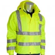 PIP 353-2000-LY Class 3 Heavy Duty Waterproof Breathable Rain Jacket - Yellow/Lime