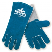 Memphis 4730 War Horse Side Split Cow Leather - Welders Gloves - Wing Thumb - Blue