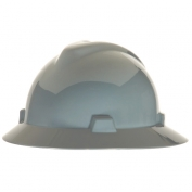 MSA 475367 V-Gard Full Brim Hard Hat - Fas-Trac Suspension - Gray