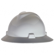 MSA 475369 V-Gard Full Brim Hard Hat - Fas-Trac Suspension - White
