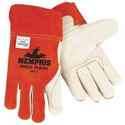 Memphis 4921 Red Ram Split Cow Leather - Leather Double Palm - MIG/TIG Welders Gloves - Red