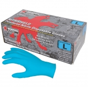 Memphis 6020 Nitrishield Disposable Nitrile Industrial Grade Gloves - Powdered - Blue - 4 mil