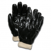 Memphis  6100 Single Dipped PVC Coated Gloves - Knit Wrist - Interlock Lined - Black