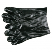 Memphis 6200 Single Dipped PVC Coated Gloves - Smooth - Interlock Lined - Black - 10 Inch