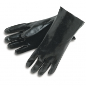 Memphis 6212 Single Dipped PVC Coated Gloves - Smooth - Interlock Lined - Black - 12 Inch