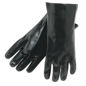Memphis 6300 Single Dipped PVC Coated Gloves - Smooth - Interlock Lined - Black - 14 inch