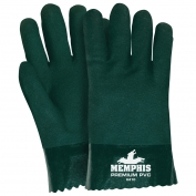 Memphis 6410 Double Dipped PVC Coated Gloves - Jersey Lined - Green - 10 inch
