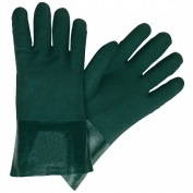 Memphis 6422 Double Dipped PVC Coated Gloves - Jersey Lined - Green - 12 inch