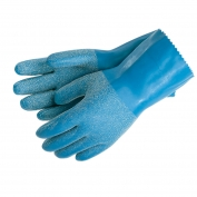 Memphis 6852 Textured Grip Single Dip Latex Gloves - Interlock Lined - Blue - 12 Inch