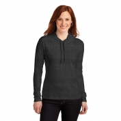 Anvil 887L Ladies Ring Spun Cotton Long Sleeve Hooded T-Shirt - Heather Dark Grey/Dark Grey