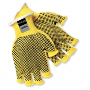 Memphis 9369 Fingerless Kevlar Gloves - 7 Gauge - PVC Dots Both Sides - Cut Resistant - Yellow