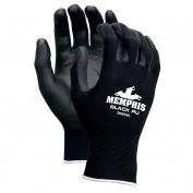 Memphis 9669 PU Coated Palm String Knit Gloves - Nylon Shell - 13 Gauge - Black