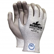 Memphis 9672 PU Coated Palm String Knit Gloves - Dyneema Shell - 13 Gauge - Gray