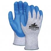 Memphis Diamond Tech Gloves - 10 Gauge Dyneema Shell - Nitrile Foam Coated Palm - Blue