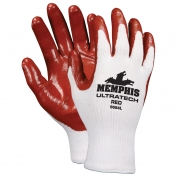 Memphis 9684 UltraTech Nitrile Coated Palm String Knit Gloves - Cotton/Poly - 13 Gauge - White/Red