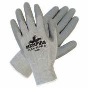 Memphis 9688 FlexTuff II Latex Coated Palm Gloves - Cotton/Poly - 10 Gauge - Gray