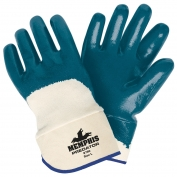 Memphis Predator Gloves - Blue Nitrile Dipped Palm Coating - Safety Cuff - Blue-White