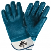 Memphis Predator Gloves - Blue Extra Rough Fully Coated Nitrile - Safety Cuff - Blue-White