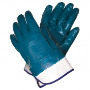 Memphis Predator Gloves - Blue Nitrile Fully Coated Jersey Lining - Safety Cuff - Blue-White