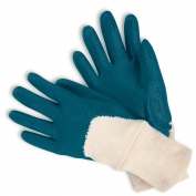Memphis Predator Economy Gloves - Nitrile Dipped Palm Coated Interlocked Lining - Knit Wrist - Blue
