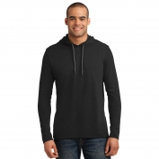 Anvil 987 100% Ring Spun Cotton Long Sleeve Hooded T-Shirt - Black/Dark Grey