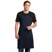 Port Authority A700 Easy Care Extra Long Bib Apron with Stain Release - Navy