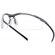 Bolle 40049 Contour Metal Safety Glasses - Silver Metal Temples - Clear Anti-fog Lens