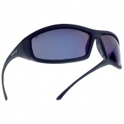 Bolle 40064 Solis Safety Glasses - Black Temples - Blue Mirror Lens