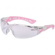 Bolle 40254 Rush+ Small Safety Glasses - Pink/White Temples - Clear Anti-Fog Lens