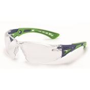 Bolle 40256 Rush+ Safety Glasses - Green/Black Temples - Clear Anti-Fog Lens