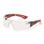 Bolle 41080 Rush+ Safety Glasses - Red/Black Temples - Clear Anti-Fog Lens