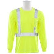 ERB 9602S Class 2 Long Sleeve Safety Shirt - Yellow/Lime