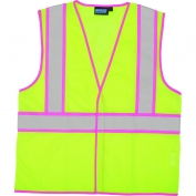 ERB S730 Class 2 Contrasting Pink Trim Safety Vest - Yellow/Lime