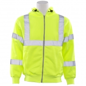 ERB W375 Class 3 Hooded Safety Sweatshirt with Zipper - Yellow/Lime