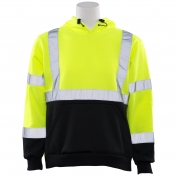 ERB W377 Class 2 Black Bottom Hooded Safety Sweatshirt - Lime/Black