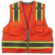 Ergodyne GloWear 8254HDZ Heavy Duty Surveyor Vest - Zipper Closure - Orange