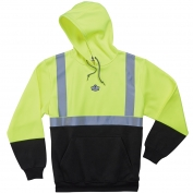 Ergodyne GloWear 8293 Class 2 Black Bottom Hooded Sweatshirt - Yellow/Lime