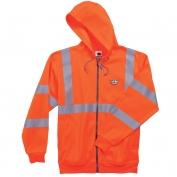 Ergodyne GloWear 8392 Class 3 Zipper Hooded Sweatshirt - Orange