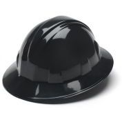 Pyramex HP24111 Full Brim Hard Hat - 4-Point Ratchet Suspension - Black