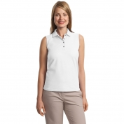 Port Authority L500SVLS Ladies Silk Touch Sleeveless Polo - White