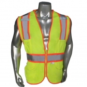 Radians LHV-45-ANSI-MP Solid Front Mesh Back Two-Tone Safety Vest - Zipper Closure - Yellow/Lime