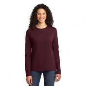 Port & Company LPC54LS Ladies Long Sleeve 5.4-oz 100% Cotton T-Shirt - Athletic Maroon