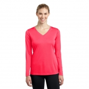 Sport-Tek LST353LS Ladies Long Sleeve V-Neck PosiCharge Competitor Tee - Hot Coral