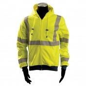 OccuNomix LUX-SWT3HZ Class 3 Moisture Wicking Safety Hoodie - Yellow/Lime
