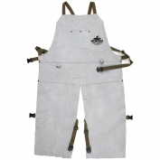 Memphis 38242MW Leather Welding Bib Apron with Split Legs - 24\\\