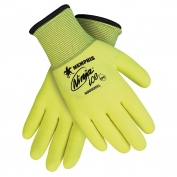 Memphis N9690HV Hi-Viz Ninja Ice Gloves - 15 Gauge Yellow Nylon Shell - HPT Foam Coating