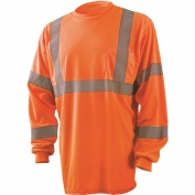 Occunomix LUX-LSETP3B Class 3 Wicking Birdseye Mesh Long Sleeve Safety T-Shirt - Orange